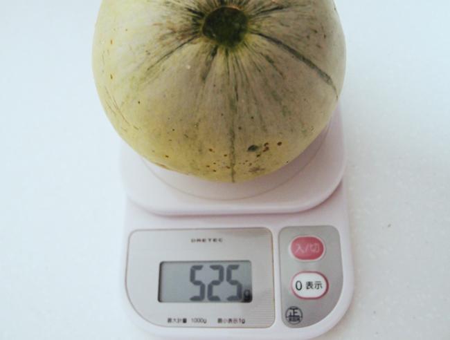 収穫したプリンスメロンの重さ